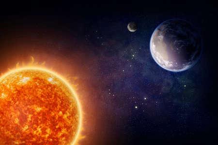 Planeet Aarde maan en de zon (Nasa beelden) Stockfoto