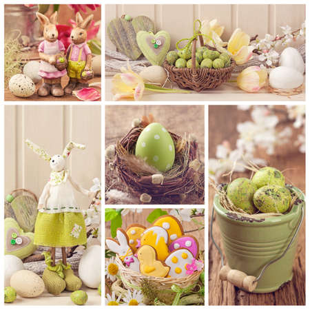 easter cookie: Easter collage of photos with spring decoration Stock Photo