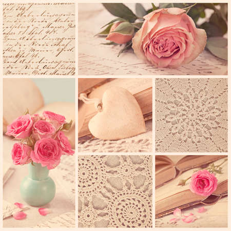 Collage of retro photos with roses and old letters photo