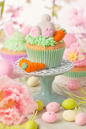 carrot cake: Easter cupcake on a stand