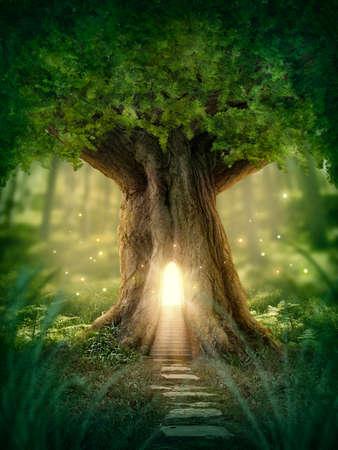 paisagem: Casa na árvore da fantasia com a luz na floresta Imagens