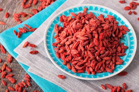 barbarum: Goji berries in a plate