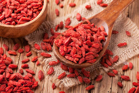 Goji berries in a wooden spoon photo