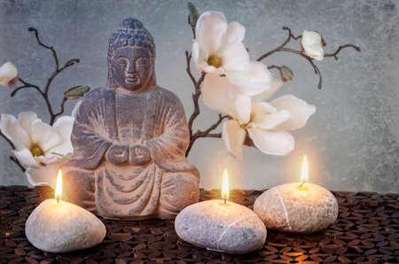 Boeddha in meditatie, religieus concept Stockfoto