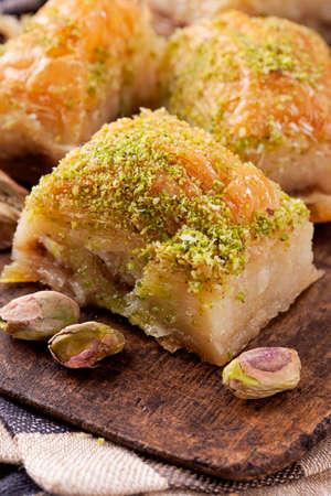 baklawa: Baklava with nuts and honey Stock Photo