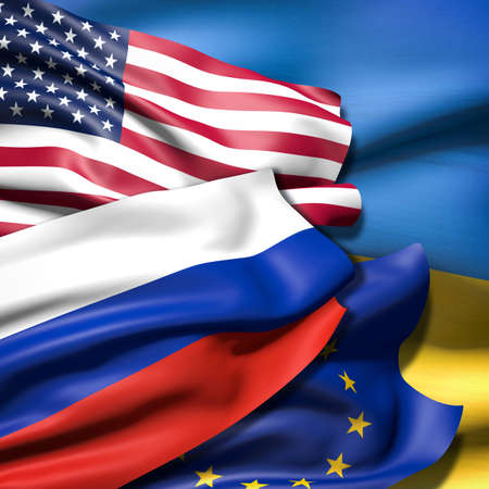 globalism: Flags of USA, the European Union, Russia and Ukraine