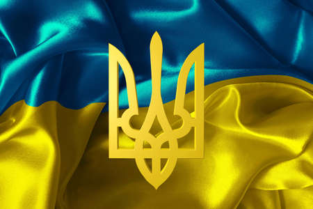 Ukraine flag with a coat of arms  Stock Photo