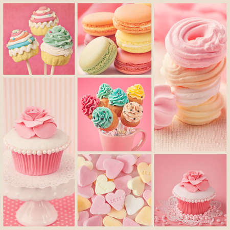 Collage of photos with pastel colored cupcakes and meringue Stock Photo - 28425278