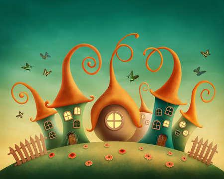 Case di fantasia nel prato
