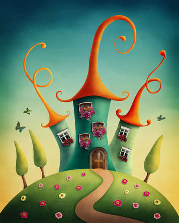 Fantasy castle in the meadow Banco de Imagens
