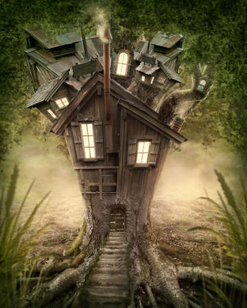 fantasy fairy: Fantasy tree house in forest