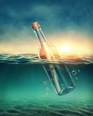 sos: Bottle with a message in water