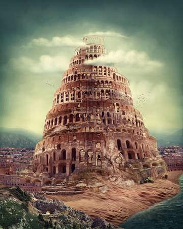 historias biblicas: Torre de Babel como el concepto de religión Foto de archivo
