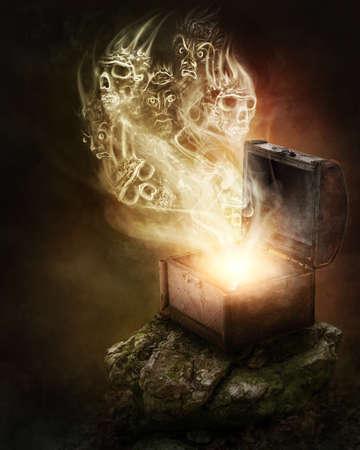 Pandoras Box und Schädel Rauch Standard-Bild