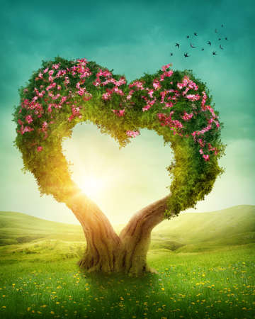 fantasy landscape: Heart shaped tree in the meadow Stock Photo