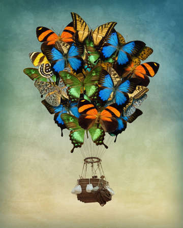 Butterfly hot air balloon high in the sky photo