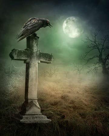 Kraai op een graf in de nacht Stockfoto