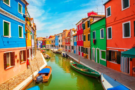 on the canal: Burano, an island in the Venetian Lagoon