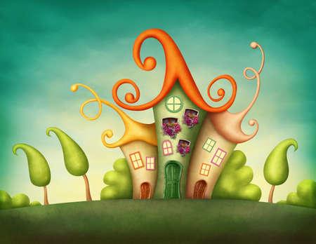 Fantasy huizen in de wei Stockfoto