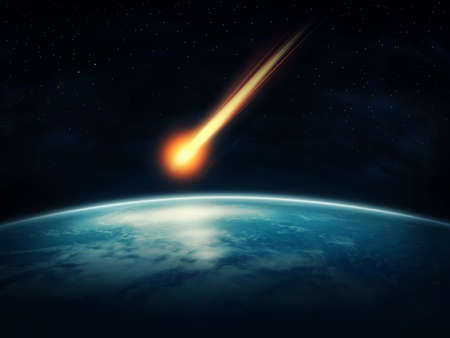 Meteor flying to the earth photo