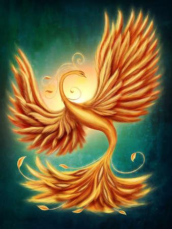 ave fenix: Firebird magia en un fondo verde Foto de archivo