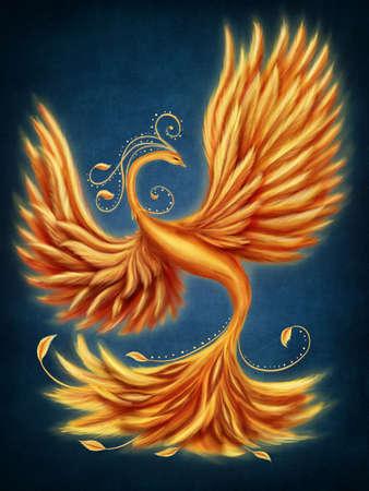 Magic firebird on a blue background photo