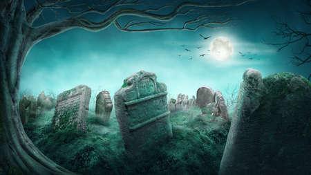 夜に不気味な古い墓地