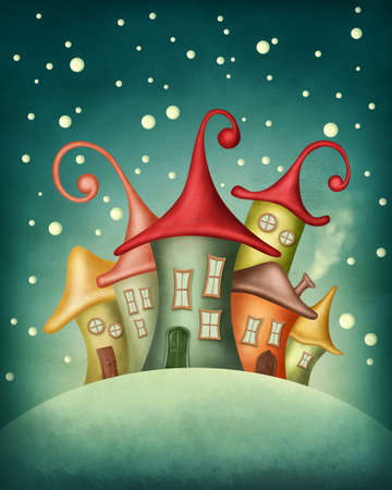 Fantasy colorful houses in winter photo