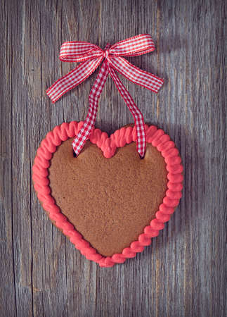 Gingerbread heart with copy space photo