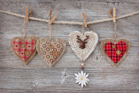 vintage timber: Christmas decoration over wooden background