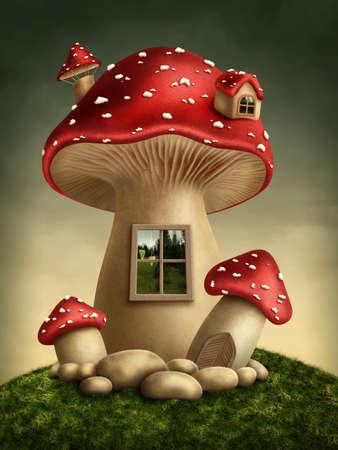 hongo: Fantas�a casa de setas en el bosque Foto de archivo