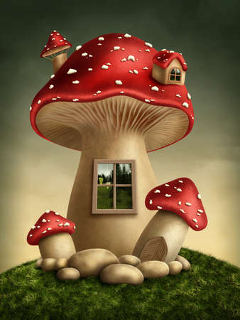 fairy toadstool: Fantasy mushroom house in the forest