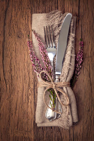 Autumn table setting with knife and fork Stock Photo - 32273196