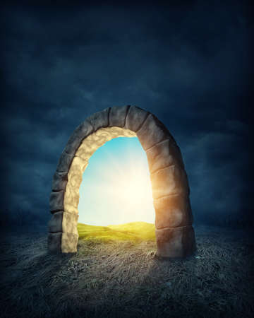 open gate: Mysterious entrance to new life or beginning