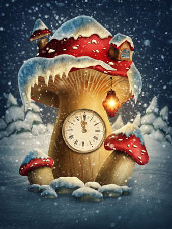 fairy toadstool: Fantasy mushroom house with a clock