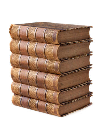 antique books: Pile of ancient books isolated on a white background Stock Photo