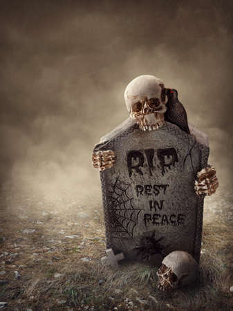 spooky graveyard: Crow sitting on a gravestone at night Stock Photo