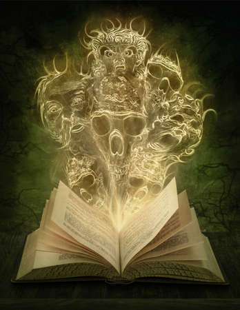 scary night: Magic book with scary stories Stock Photo