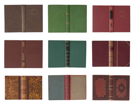 leather background: Collection of book covers with spine isolated on a white background