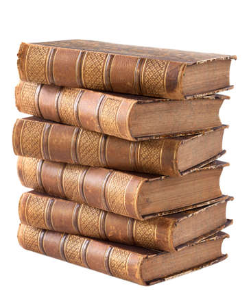 ancient books: Pile of ancient books isolated on a white background Stock Photo