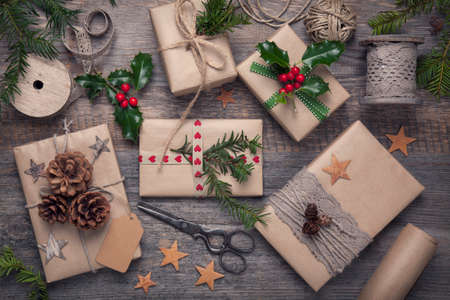 gift tag: Christmas vintage presents on a wooden background