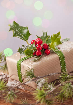 Christmas vintage present on a bokeh background photo