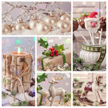 Collage of pastel colored christmas decorations photo