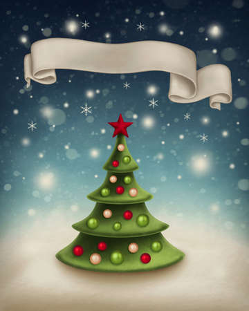 copy spase: Illustration with christmas tree and ribbon banner