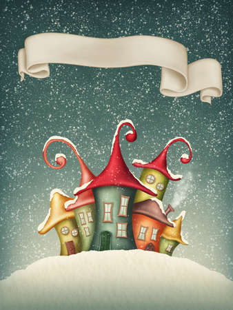 Fantasy colorful houses in winter and banner Archivio Fotografico