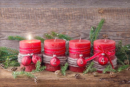 Four red christmas candle for advent photo