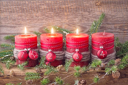 Four red christmas candle for advent