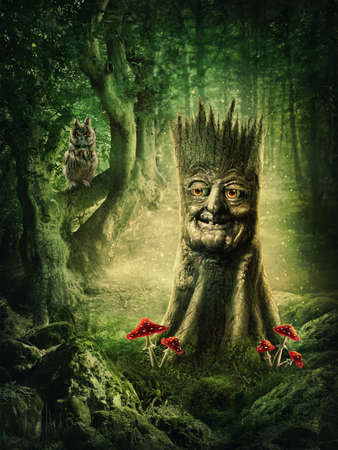fairy toadstool: Magic stump with a face in the wood