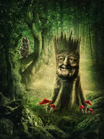 seta: Toc�n Magia con una cara en la madera