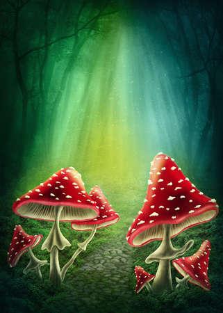 hongo: Oscuro bosque encantado con setas Foto de archivo